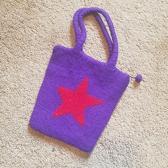 Handbags - Wooly Purple/Red Star Purse